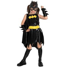 Deluxe Batgirl Costume features a black leatherette dress with the yellow Bat symbol on the chest. Batgirl Costume is finished with a black eye mask. Girl Superhero Costumes, Batman Costumes, Super Hero Costumes, Girl Costumes, Costumes Kids, Cosplay Costumes, 1960s Costumes, Morris Costumes, Pirate Costumes