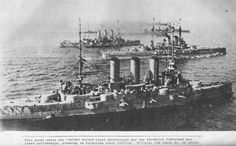 This photo shows two Viribus Unitis class battleship and two Erzherzog Ferdinand Max class battleships, steaming in formation, about 1917-18