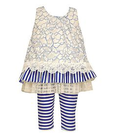 e8d061c9023ce Love this Blue & White Lace & Stripe Dress & Leggings - Toddler & Girls on  #zulily! #zulilyfinds