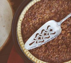 Gather, Give Thanks, Eat Pie - Hand Stamped Vintage Pie Server   jessicandesigns