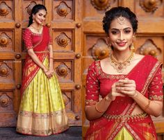 Shop Exotic Ethnic Wear Designs for This Season Lehenga Saree Design, Half Saree Lehenga, Lehenga Designs, Saree Dress, Wedding Saree Blouse Designs, Pattu Saree Blouse Designs, Half Saree Designs, Saree Wedding, Indian Gowns Dresses
