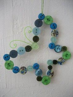 DIY Make a Button and Wire Butterfly Hanger⭐⭐Düğmelerden kelebek........Rosely Pignataro