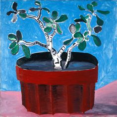DAVID HOCKNEY: Potted Jade, 1988  oil on canvas, 30 1/2 x 61 in.