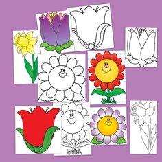 La primavera con flores para colorear. Dibujos para colorear