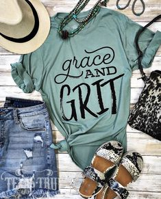 """Grit"""" Graphic Tee and Grit"""" Graphic Tee Nordace - Nordace Siena - Smart Backpack Make America Cowboy Again Tee Turquoise Boho Kimono Lawd Have Mercy on Cute Country Outfits, Country Shirts, Western Outfits, Western Wear, Cute Outfits, Southern T Shirts, Country Dresses, Fall Outfits, Bella T Shirts"""
