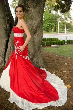 My Maggie Sottero Amara Mermaid Wedding Gown. Royal red with gold and ivory detailed lace. I loved this nontraditional wedding gown. It was perfect next to my husbands Marine uniform! Kelli Bill  #wedding gown