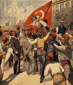 """Demonstrations for the emancipation of women after the proclamation of the Constitution in Turkey by Sultan Abdulhamid IIIllustration from """"La Domenica del Corriere"""", 1908 / Photo © Costa / Bridgeman Images"""