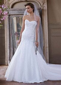 Sweetheart neckline, full skirt, beaded appliques; this eye-catching and ultra-romantic wedding dress has all the right elements to make the perfect gown!  Fit and flare gown features aflattering and delicate sweetheart neckline.  Beaded lace appliques adorn the bodice adding a radiant touch.  Full tulle skirt creates a dramatic feel and finishes off the look.  Sweep train. Sizes 0-14.  Available in stores and online in White. Ivory available for Special Order in stores.  Petite: Style 7W…