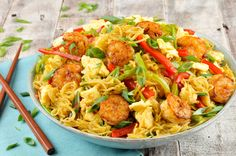 Healthy Takeout Shrimp Singapore Noodles With Snow Peas and Bell Pepper