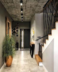 Harmaan eri sävyt nousevat upeasti esiin eri materiaaleista. Rouheat yksityiskohdat ja elävät tekstuurit pinnoissa tuovat monipuolisuutta kokonaisuuteen. Home Stairs Design, Home Room Design, Interior Design Living Room, Living Room Designs, House Design, Loft Design, Home Entrance Decor, Home Decor, Flur Design