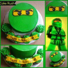 "Green Lego Ninjago 8"" buttercream cake/ 6 cupcakes all buttercream with fondant details."