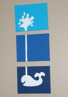 Blue Three Tone Whale Canvas Panel Painting