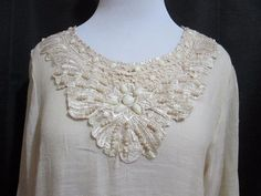 Mad Style Womens Tunic Top Dress Med Crocheted Lace Beaded Faux Pearls   #MadStyle #Tunic #Clubwear