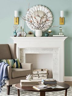my taupe sofa, my old wood floors, and this warm blue paint: Living Room Color Schemes Living Room Paint, Small Living Rooms, My Living Room, Living Room Decor, Cozy Living, Living Area, Dining Room, Simple Fireplace, White Fireplace