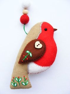 Felt PDF sewing pattern - Felt robin with embroidered details. Christmas tree ornament, easy sewing pattern, digital item Felt PDF sewing pattern Felt robin with embroidered details. Christmas Sewing, Handmade Christmas, Christmas Diy, Christmas Patterns, Handmade Felt, Holiday, Christmas Trees, Felt Christmas Decorations, Felt Christmas Ornaments