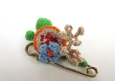 Freeform crochet brooch