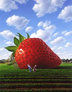 Strawberry Art Print featuring the painting Unexpected Growth by Jerry LoFaro Giant Strawberry, Strawberry Pictures, Strawberry Delight, Strawberry Garden, Instalation Art, Strawberry Fields Forever, Creation Photo, Sky Painting, Roadside Attractions