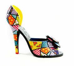 Romero Britto You. On Shoes, Me Too Shoes, Shoe Boots, Shoes Sandals, Heels, Prada, Pop Art Design, Funky Fashion, Shoe Art