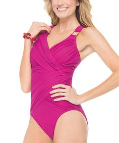 26fc9dfcdcf29 Love this Whittle Waistline Draped One-Piece - Rich Berry by SPANX® by Sara