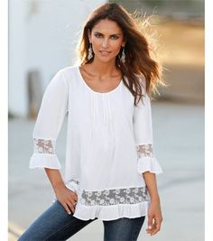 Cheap blouse manufacturers, Buy Quality blouse hot directly from China lace express Suppliers: Western Fashion Patchwork Crochet Lace Women Blouses 2016 New Spring Summer Lantern Sleeve Shirt Women Blusas White Ladies Tops Cheap Blouses, Shirt Blouses, Blouses For Women, Designer Kurtis, Vetements Clothing, Denim And Lace, White Women, Look Fashion, Clothing Patterns
