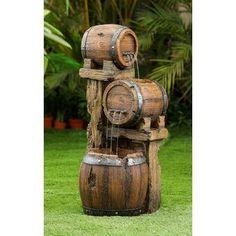 Rustic Outdoor Fountains, Indoor Water Fountains, Outdoor Decor, Barrel Fountain, Patio Fountain, Whiskey Barrel Flowers, Front Yard Decor, Yard Furniture, Barrel Furniture