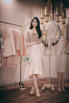daily 2016 feminine& classy look Japanese Fashion, Asian Fashion, Look Fashion, Girl Fashion, Modern Outfits, Classy Outfits, Modest Fashion, Fashion Dresses, Ulzzang Fashion