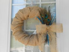 Burlap Wrap Wreath W/ Peacock Feathers by JennaBelles on Etsy, $45.00