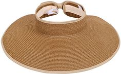 Simplicity Women's Wide Brim Roll-up Straw Hat Sun Visor Light Coffee >>> Check out this great image @