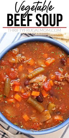 Vegetable Beef Soup- this simple recipe is the perfect quick and easy healthy dinner! It's made with ground beef, tomatoes, carrots, celery, green beans, black beans, chicken broth, tomato sauce and various herbs and is ready in just 30 minutes. So delicious! #thriftyfrugalmom #vegetablesoup #hamburgervegetablesoup Creamy Soup Recipes, Beef Soup Recipes, Easy Homemade Recipes, Chowder Recipes, Chili Recipes, Easy Dinner Recipes, Salad Recipes, Easy Meals, Vegetarian Soup