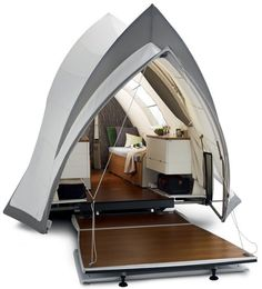 The coolest pop-up I have ever seen.  Act II: Debut of the Sydney Opera-Inspired Camper-Trailer | Designs & Ideas on Dornob