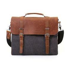Vintage Canvas Leather Laptop Messenger Bag Unisex Travel Bag Shoulder Bag
