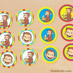 Going to cut these out and hot blue to chocolate coins for table decoration! Curious George Cupcakes, Curious George Party, Curious George Birthday, Third Birthday, Birthday Fun, Birthday Ideas, Curios George, Monkey Birthday Parties, Party Decoration
