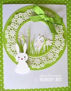 I have a Sweet Bunny card for you today that I will use for Easter. prep work to make this card: Select a Powder notecard--This pale blue is the perfect background. Choose a white paper circle doily. Using WRAPPED CIRCLES 30114, die cut a circle larger than the doily from Key Lime Distressed Dots paper and one the same size as the solid center of the doily from a scrap of Powder notecard. Die cut two of the GRASS STITCHED CIRCLE FRAME 99924 from more of the Key Lime Distressed Dots paper…