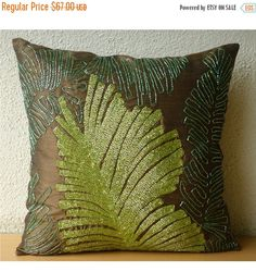 10% THANKSGIVING SALE RainForest - Pillow Sham Cover - 24x24 Inches Silk Pillow Sham Cover with Sequin Embroidery