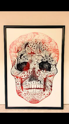 Framed A4 handmade skull red foil print.  this item would look great in any room.  -£10.99 -Free UK shipping (Ships worldwide) -black A4 frame included -Skull face is used with real red foil -to shop please visit etsy website
