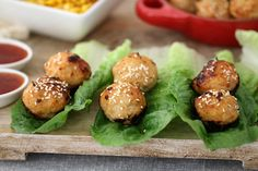 Deliciously simple Oven Baked Thai Chicken Meatballs served in lettuce leaves with a sweet chilli dipping sauce. Fast, fresh and yummy. Healthy Mummy Recipes, Asian Recipes, Healthy Snacks, Thai Recipes, Mince Recipes, Lasagna Recipes, Savoury Recipes, Savory Snacks, Chinese Recipes