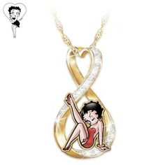 gold-plated infinity heart pendant with over 12 sparkling Swarovski crystals, officially-licensed Betty Boop™ art and engravings. Mrs Necklace, Emerald Necklace, Cluster Necklace, Pendant Necklace, Gold Earrings, Key Pendant, Crystal Pendant, Betty Boop, Swarovski Crystals