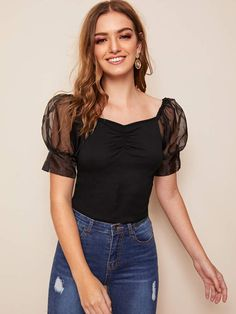 To find out about the Mesh Puff Sleeve Ruched Detail Crop Top at SHEIN, part of our latest Blouses ready to shop online today! Moda Fashion, Fashion News, Fashion Outfits, Rock Chic, Rocker, Classy Outfits, Cute Tops, Types Of Sleeves, Blouse Designs