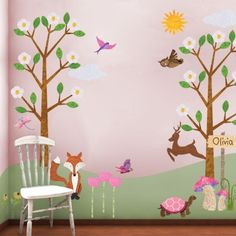 Tree Wall Stickers, Forest Wall Mural for Girls Room, Personalized Fabric Wall Decals  - FREE SHIPPING (USA). $154.99, via Etsy.