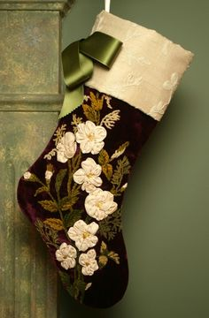 Stunning Antique Velvet Christmas Stocking with White Ribbon Roses and Chenille Embroidery