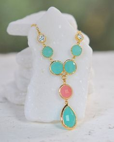 Turquoise and Coral Pink Jewel Pendant Statement Necklace in Gold.  Unique Fashion Necklace.  Turquoise and Gold Jewel Necklace. on Etsy, $48.50