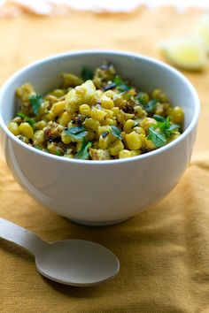 Bread And Corn Salad adapted from The Everything Indian Cookbook by Monica Bhide