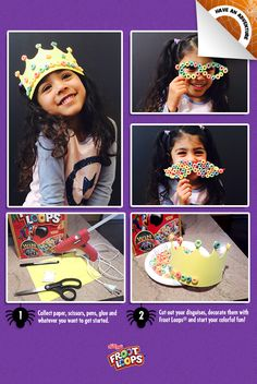 Froot Loops® Faces  Help your child become a master of disguise by gluing Froot Loops® to paper shapes and wearing them.