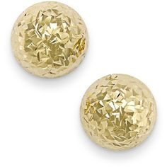 Diamond-Cut Ball Stud Earrings in 14k Gold ($450) ❤ liked on Polyvore featuring jewelry, earrings, no color, ball stud earrings, 14k gold earrings, yellow gold stud earrings, yellow gold earrings and gold stud earrings