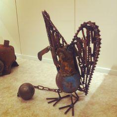 Jailbird Junk Art, Welding Art, Metal Art, Bookends, Home Decor, Metal Yard Art, Interior Design, Home Interior Design, Welded Art