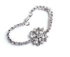 Vintage Flower Rhinestone Bracelet   Silver Tone 1950s Jewelry by MaejeanVINTAGE, $24.00