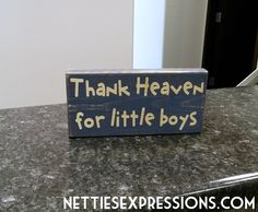 Thank Heaven for Little Boys 3.5x7 Wood Sign | Netties Expressions