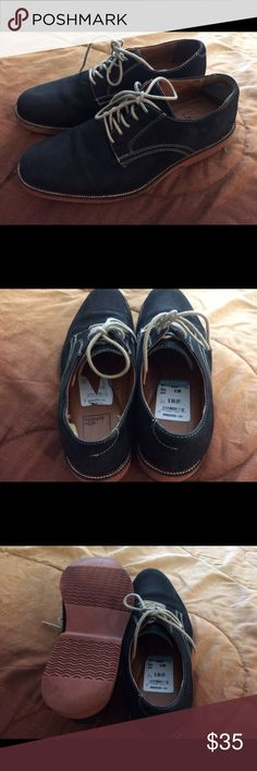 Men's Nordstrom Rack 14th&Union Navy Suede sz 8.5 Pre-loved Excellent Condition (Leather on the inside at the heel on the left shoe has rolled up) Nordstrom Shoes Oxfords & Derbys