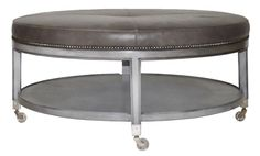 Vanguard Furniture - Our Products- Lorenzo ottoman- we could do this in a custom finish and fabric and omit casters/nailheads since they're on the sectional. Colorado Mountain Homes, Cocktail Ottoman, East Hampton, Chair And Ottoman, Grey Leather, Vanity Bench, Ivory, Wood, Empire