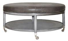 Vanguard Furniture - Lorenzo cocktail ottoman, wood base and shalf_ fabric or leather top, 42.5 dia x 19.5